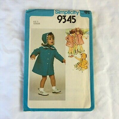 Simplicity 9345 toddler coat dress girl's sewing pattern 1970s vintage size 3