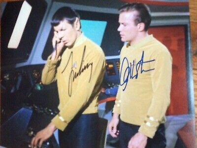 LEONARD NIMOY WILLIAM SHATNER 8 x 10 signed photo Star Trek Lovely COA GREAT