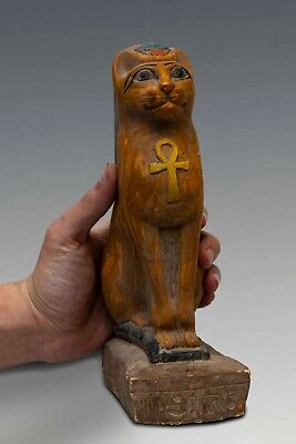 Rare EGYPT BASTED Ubasti Goddess EGYPTIAN CAT Pharaoh, STATUE CARVED STONE BC