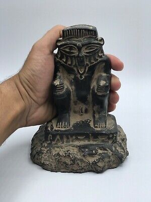 EGYPTIAN ANTIQUES EGYPT STATUE GODS Bes Large Black Carved STONE 332 BC
