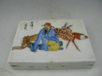 Collectible Chinese Rose Porcelain Hand Painted Ink Inkstone Box