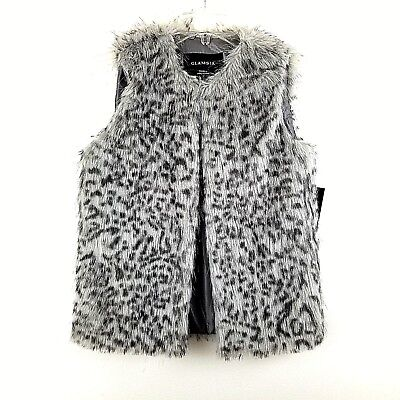 Glamsia Womens Faux Fur Gray Animal Print Vest Buttonless Size Small NWT