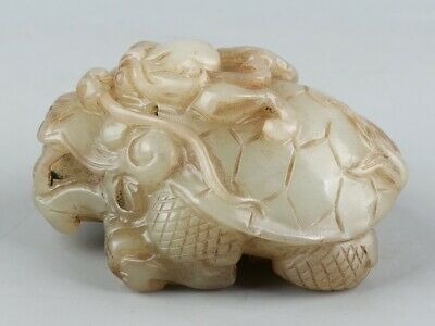 Chinese Exquisite Hand-carved Dragon turtle Carving Hetian jade statue