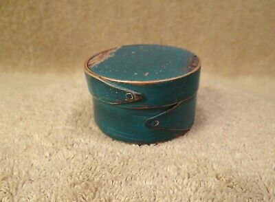 Old Small Antique Blue Painted Wooden Lidded Pantry Box