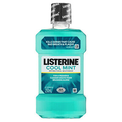NEW Listerine Mouthwash Cool Mint Kill Germs Prevent Bad Breath And Plaque 250ml