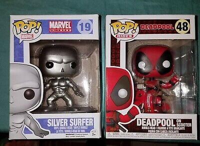 Marvel Funko Pop Lot. Deadpool On Scooter #48 & Silver Surfer #19