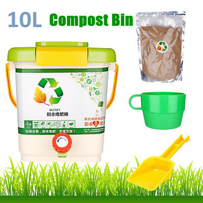 10L Recycle Composter Aerated Compost Bin Bokashi Bucket Kitchen Food Waste