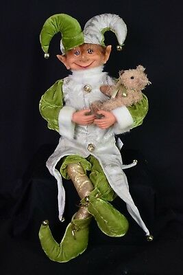 Elf Decoration. large. Green. Bendable arms and legs, Christmas
