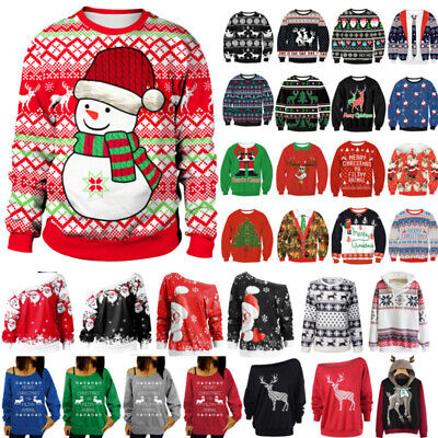 Ugly Christmas Adult Unisex Xmas Sweater Jumper Hoodie Sweatshirts Pullover Tops