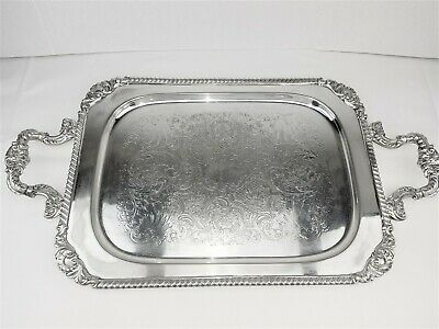 "Silver On Copper Butler Tray Tea Serving Tray 25.5"" L  Chased Patterns Gadroon"