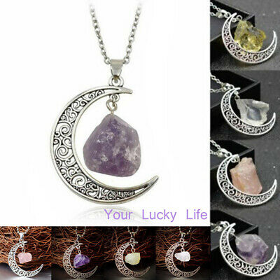 Crystal Pendant Chakra Healing Gemstone Moon Necklace Natural Quartz Jewelry US