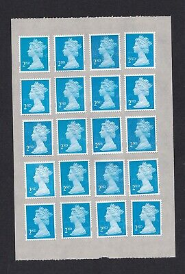 100 x 2ND SECOND CLASS BLUE UNFRANKED SECURITY STAMPS, SELF ADHESIVE, GUMMED.