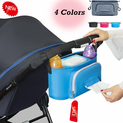 Pushchair Buggy Organiser Bag Stroller Storage Wipes Cup Holder Shoulder Strap