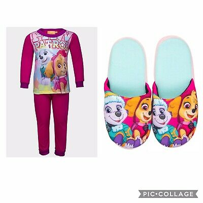 Girls Paw Patrol Pink Pyjamas & Slippers Set Skye & Everest Long Sleeve Pjs