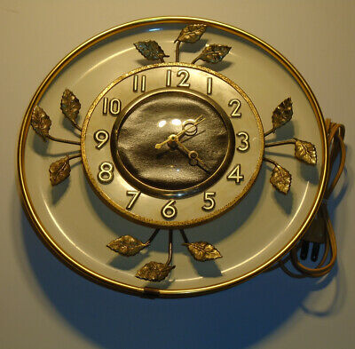 Vintage United Electric Wall Clock With Metal Gold Leaf Design