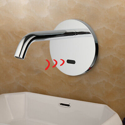 Chrome Single Cold Water Faucet Tube Automatic Hand Sensor Touch Wall Mount Taps