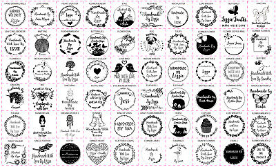 Personalised Handmade By Laser Rubber Stamps - 60 Designs - 40mm Square Size