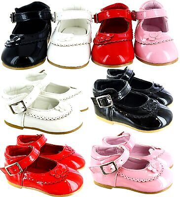 Kids Girls Baby Toodler Infants Spanish Patent Wedding Party Flat Shoes Size 1-8
