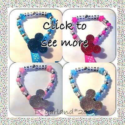 Personalised Dummy Clip Saver Bling Minnie Mickey Mouse Pink Blue