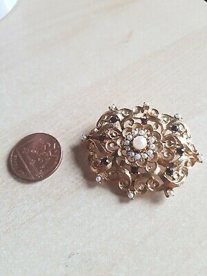Antique Baroque Style Brooch Pendant Gold Tone Fake Pearl Black Crystal bxd