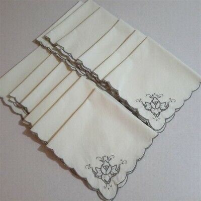 Set 12 Lovely Vintage Silver/Grey Embroidered Corners Table Napkins Serviettes