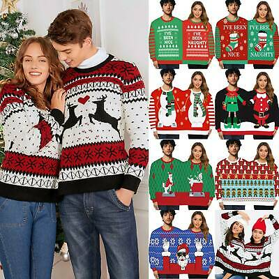 Unisex Double Christmas Sweater Jumper Top Couples Women Mens Xmas Pullover Ugly
