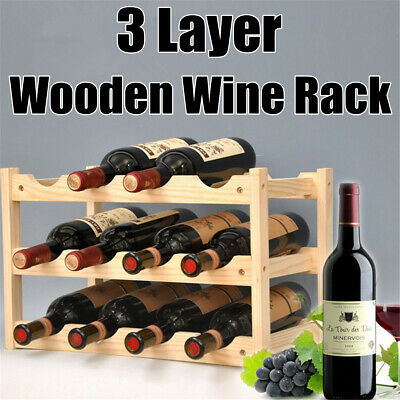 3 Layers Wooden Wine Rack 12 Bottles Storage Shelf Home Bar Wine Cabinet