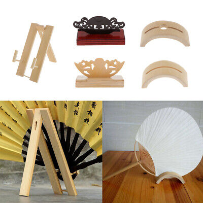 Antique Style Hand Fans Display Holder Wooden Folding Fan Stand Holder