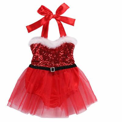Christmas Toddler Kid Baby Girl Festival Xmas Party Tutu Dress Outfit Clothes