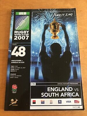 Rugby world cup final 2007 programme. England vs South Africa. Exc condition