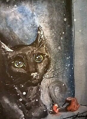 ACEO Card - Strange Bird - Black Cat BEAUTIFUL Watercolor ORIGINAL Painting .