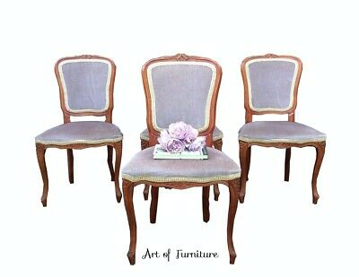 4 Victorian Antique Style Mahogany Hand Carved Dining Kitchen Upholstered Chairs