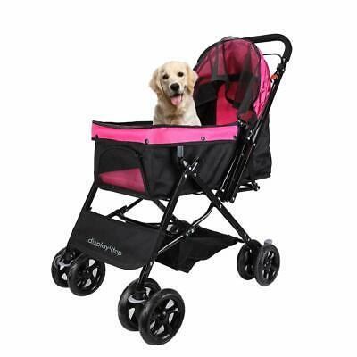 Smooth Travel Stroller Reversible Pushchair Buggy For Dogs & Cats Pink Black Pet
