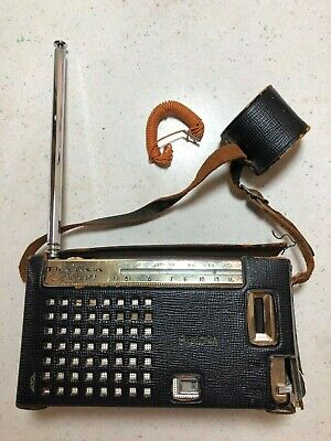 VINTAGE BULOVA 2 BAND 7 TRANSISTOR RADIO 2YC-23 black and beige Tested - WORKS