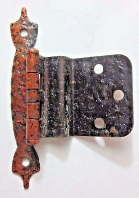 "1 Vintage 3/8"" Inset Cabinet Hinge Hammered Copper Duck Feet Finials Face Mount"