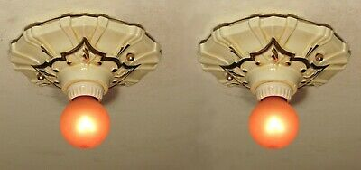 STELLAR! Pair of Antique Porcelain Starburst Bathroom Light Fixtures Restored!