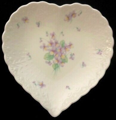 Mikasa Heart Shaped Porcelain Trinket Dish Candy Bowl Pansy Flowers With Love