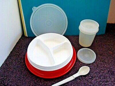 Tupperware Lot Baby/Toddler Feeding Dish, Spoon & Tumbler With Double Sip Seal
