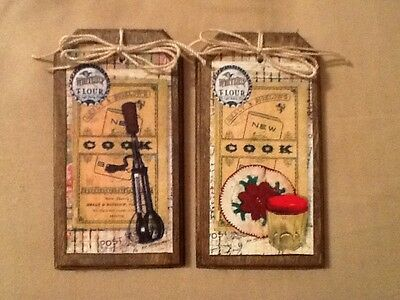 5 Wooden PRIM Country Cook Hang Tags/Ornaments/Bowl Fillers HANDCRAFTED SetB