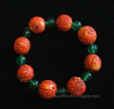 Chinese Old Red Coral Hand Carved Beads Bracelets