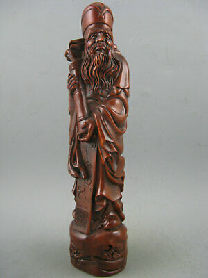 "8""Antique Chinese Old Boxwood Hand Carved God wealth Statue"