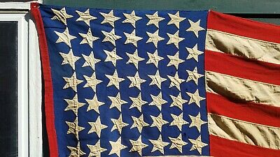 36 - 48  star American flag  4 x 8 hand sewn double applique rare pattern