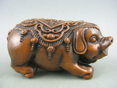 Antique Chinese Old Boxwood Hand Carved Pig Bat 福 Statue