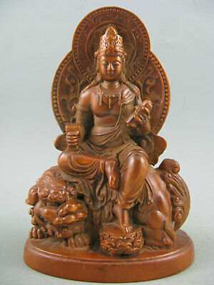Antique Chinese Old Boxwood Hand Carved Kwan-Yin Lion Statue