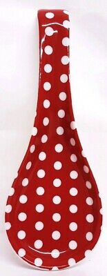 Red Dots Ceramic Spoon Rest 22cm Medium Red Spotty Porcelain Spoon Decorated UK