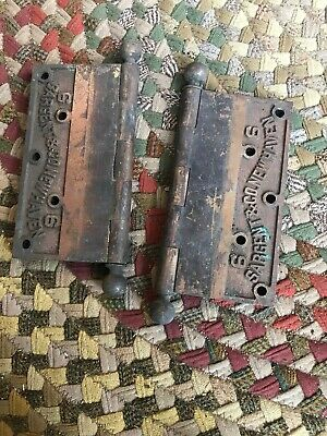 "Pair BIG ANtique brass? hinges Sargent & Co New Haven  6""   MUST SEE !!"