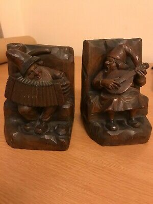 Vintage Italian Anri Wooden Bookends Black Forest