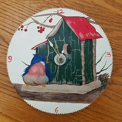 """Saw Blade Wall Clock Blue Bird and House Hand Painted 7.25"""" Tested and Works"""