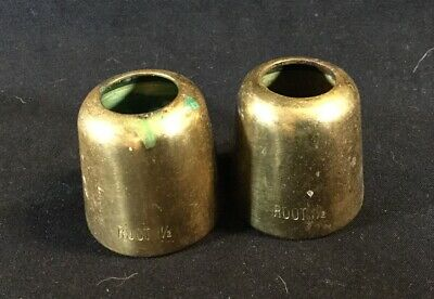 """Group 2 BRASS CANDLE FOLLOWERS ROOT BRAND CHURCH USE 1-1/2"""" ROUNDED TOP"""