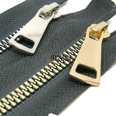 Plastic Open End Zips - Black Zipper with Gold or Silver Teeth